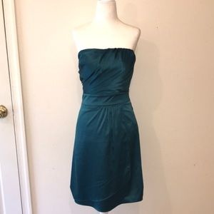 NWT The Limited Teal Satin Strapless Dress - Sz 2